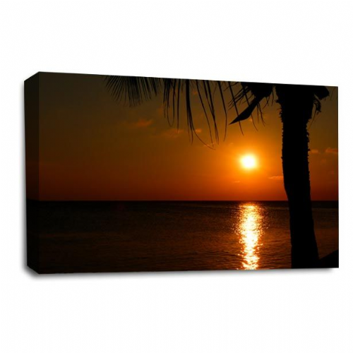Sunset Seascape Wall Art Picture Orange Golden Last Rays Print